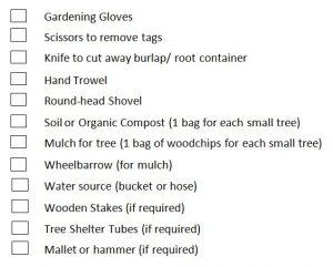 Tree Planting Tools Checklist